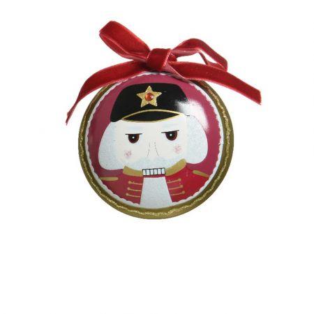 Χριστουγεννιάτικη μπάλα με Καρυοθραύστη και βελούδινη κορδέλα Μπορντό ματ 8cm