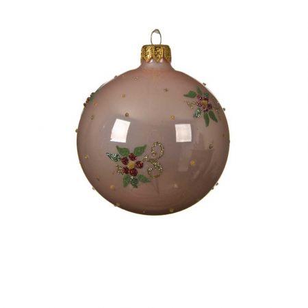 Χριστουγεννιάτικη γυάλινη μπάλα με Λουλούδι - Γκι Ροζ γυαλιστερό 8cm