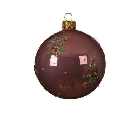 Χριστουγεννιάτικη γυάλινη μπάλα με Λουλούδι - Γκι Σάπιο μήλο γυαλιστερό 8cm