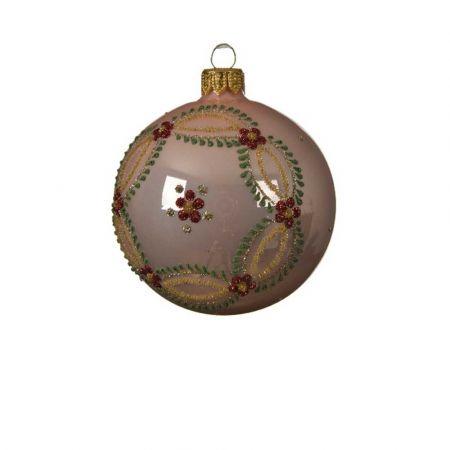 Χριστουγεννιάτικη γυάλινη μπάλα με Λουλούδια - Στεφάνι Ροζ γυαλιστερό 8cm