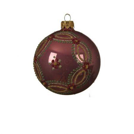 Χριστουγεννιάτικη γυάλινη μπάλα με Λουλούδια - Στεφάνι Σάπιο μήλο γυαλιστερό 8cm
