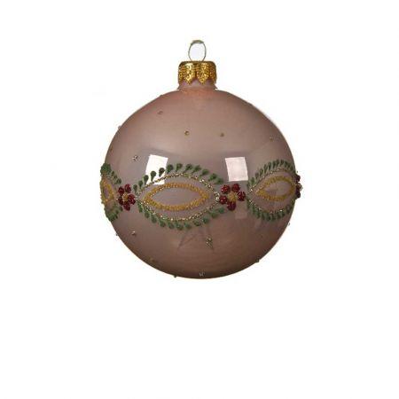 Χριστουγεννιάτικη γυάλινη μπάλα με Λουλούδια - Μπορντούρα Ροζ γυαλιστερό 8cm