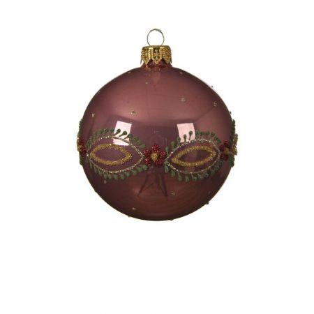 Χριστουγεννιάτικη γυάλινη μπάλα με Λουλούδια - Μπορντούρα Σάπιο μήλο γυαλιστερό 8cm