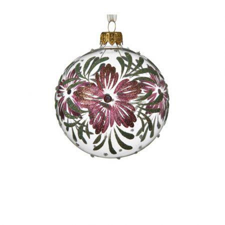 Χριστουγεννιάτικη γυάλινη μπάλα Διάφανη με Φούξια Λουλούδι 8cm