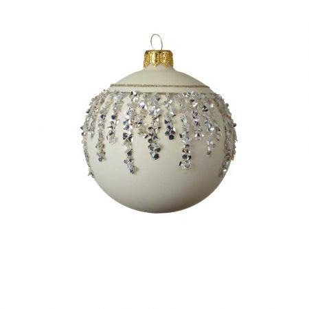 Χριστουγεννιάτικη γυάλινη μπάλα με διαμαντάκια - Λευκή 8cm