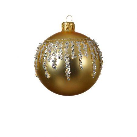 Χριστουγεννιάτικη γυάλινη μπάλα με διαμαντάκια - Χρυσή 8cm