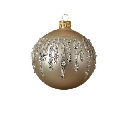 Χριστουγεννιάτικη γυάλινη μπάλα με διαμαντάκια - Σαμπανί 8cm