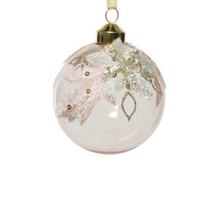 Χριστουγεννιάτικη γυάλινη μπάλα διάφανη με Λευκό κέντημα 8cm