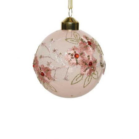 Χριστουγεννιάτικη μπάλα διάφανη με Ροζ κέντημα 8cm
