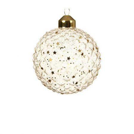 Χριστουγεννιάτικη γυάλινη μπάλα ανάγλυφη Χρυσή διάφανη με αστέρια 8cm