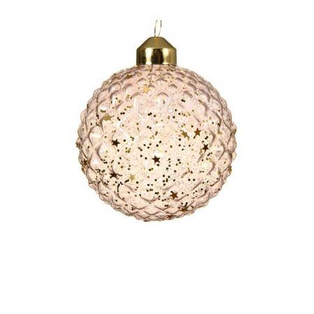 Χριστουγεννιάτικη γυάλινη μπάλα ανάγλυφη Ροζ διάφανη με αστέρια 8cm