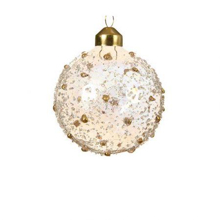 Χριστουγεννιάτικη γυάλινη μπάλα ανάγλυφη Χρυσή διάφανη με Χάντρες 8cm