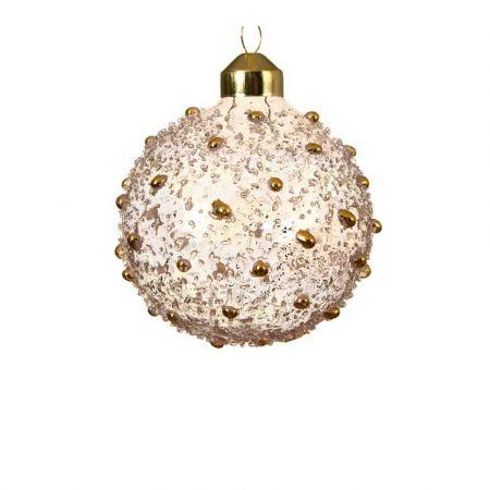 Χριστουγεννιάτικη γυάλινη μπάλα ανάγλυφη Ροζ διάφανη με Χάντρες 8cm