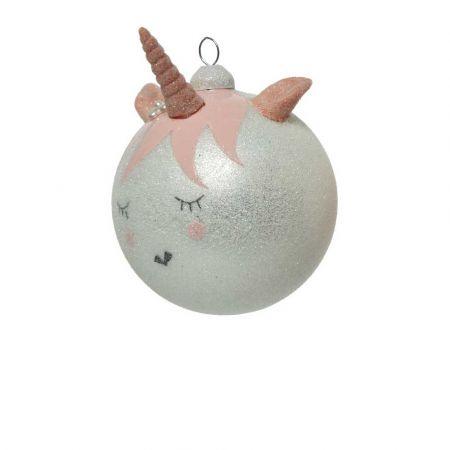 Χριστουγεννιάτικη γυάλινη μπάλα Μονόκερως Ασημί με glitter 8cm