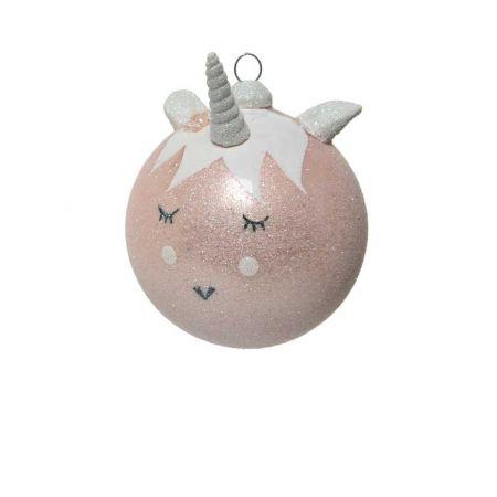 Χριστουγεννιάτικη γυάλινη μπάλα Μονόκερως Ροζ με glitter 8cm