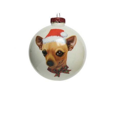 Χριστουγεννιάτικη γυάλινη μπάλα με Σκύλο Τσιουάουα Λευκή ματ 8cm