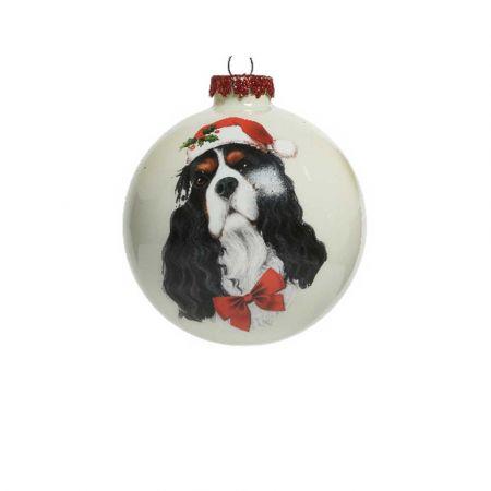 Χριστουγεννιάτικη γυάλινη μπάλα με Σκύλο Κόκερ  Λευκή ματ 8cm
