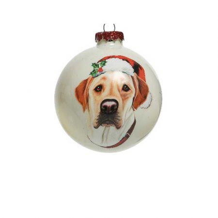 Χριστουγεννιάτικη γυάλινη μπάλα με Σκύλο Λαμπραντόρ Λευκή 8cm
