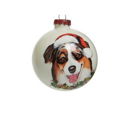 Χριστουγεννιάτικη γυάλινη μπάλα με Σκύλο Γερμανικό ποιμενικό Λευκή 8cm