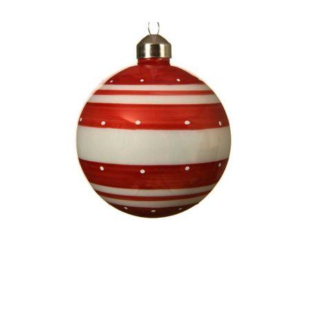 Χριστουγεννιάτικη γυάλινη μπάλα πουά με ρίγες Κόκκινη - Λευκή 8cm (01)
