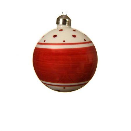 Χριστουγεννιάτικη γυάλινη μπάλα πουά με ρίγες Κόκκινη - Λευκή 8cm (02)