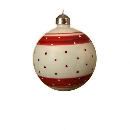 Χριστουγεννιάτικη γυάλινη μπάλα πουά με ρίγες Κόκκινη - Λευκή 8cm (03)