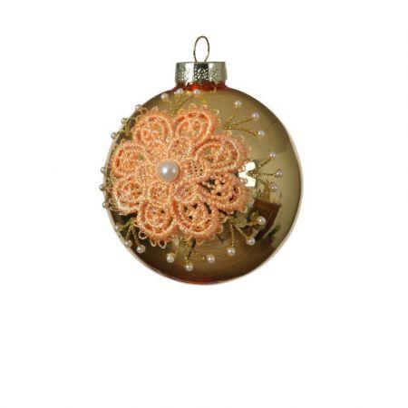 Χριστουγεννιάτικη μπάλα με κέντημα και πέρλες - Χρυσό 8cm
