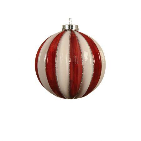 Χριστουγεννιάτικη γυάλινη μπάλα πλισέ με ρίγες Κόκκινη - Λευκή 8cm