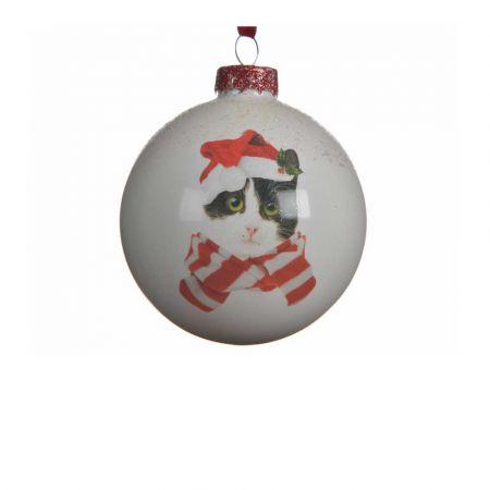 Χριστουγεννιάτικη γυάλινη μπάλα με Γάτα Λευκή 8cm (01)
