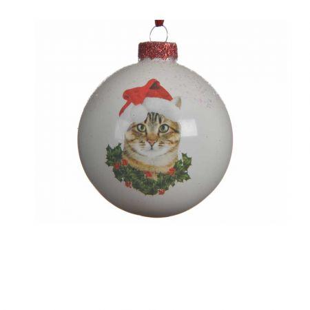 Χριστουγεννιάτικη γυάλινη μπάλα με Γάτα Λευκή 8cm (02)