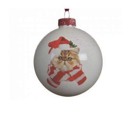 Χριστουγεννιάτικη γυάλινη μπάλα με Γάτα Λευκή 8cm (03)