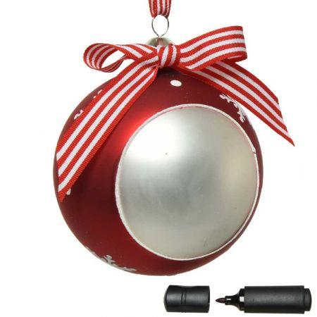 Χριστουγεννιάτικη γυάλινη μπάλα με νιφάδες και κορδέλα Κόκκινη - Λευκή ματ 10cm