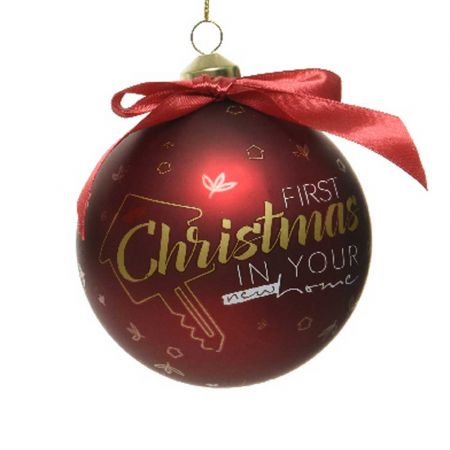 Χριστουγεννιάτικη γυάλινη μπάλα - First Christmas in Your new Home - Κόκκινη ματ 10cm