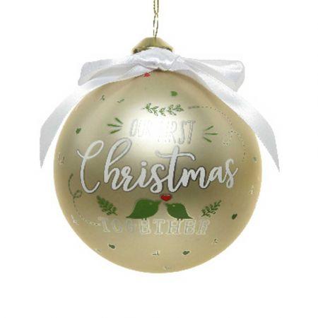 Χριστουγεννιάτικη γυάλινη μπάλα - Our First Christmas Together - Σαμπανί ματ 10cm