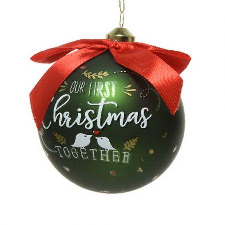 Χριστουγεννιάτικη γυάλινη μπάλα - Our First Christmas Together - Πράσινο ματ 10cm