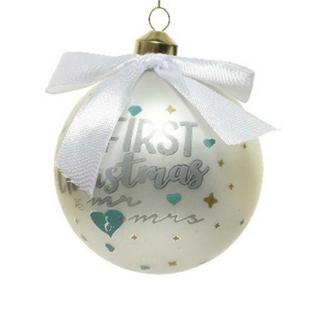 Χριστουγεννιάτικη γυάλινη μπάλα - Our First Christmas Mr&Mrs - Λευκή ματ 10cm