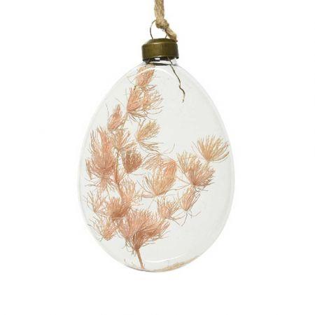 Χριστουγεννιάτικη γυάλινη μπάλα - δάκρυ με αποξηραμένο φυτό Διάφανη 8x10x2,5cm