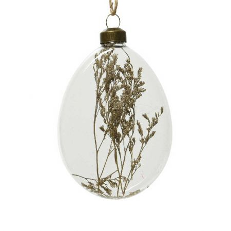 Χριστουγεννιάτικη γυάλινη μπάλα - δάκρυ με αποξηραμένο φυτό Διάφανη 8x10x2,5cm (02)