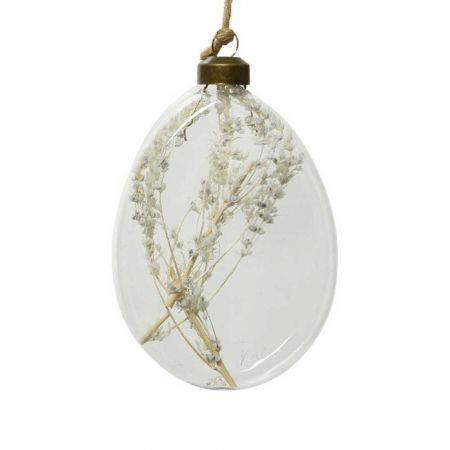 Χριστουγεννιάτικη γυάλινη μπάλα - δάκρυ με αποξηραμένο φυτό Διάφανη 8x10x2,5cm (04)