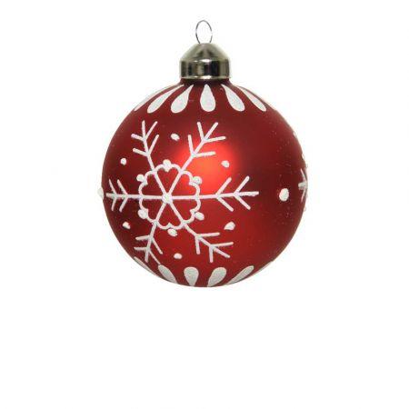 Χριστουγεννιάτικη μπάλα με Χιονονιφάδες Κόκκινο ματ 8cm