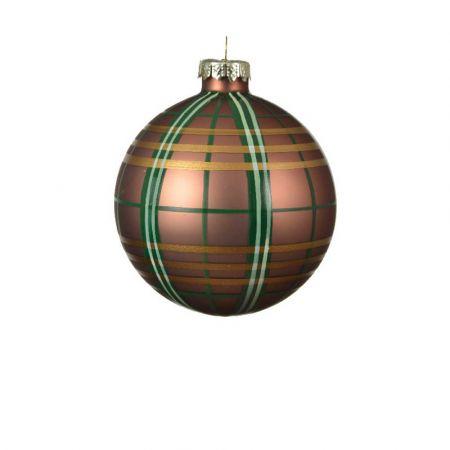 Χριστουγεννιάτικη μπάλα γυάλινη καρό Καφέ ματ 8cm