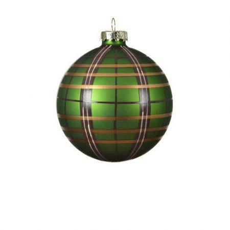 Χριστουγεννιάτικη μπάλα γυάλινη καρό Πράσινη ματ 8cm