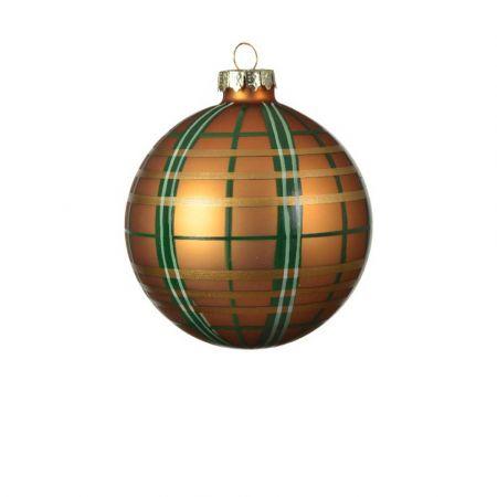 Χριστουγεννιάτικη μπάλα γυάλινη καρό Χάλκινη ματ 8cm