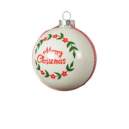 Χριστουγεννιάτικη μπάλα γυάλινη Merry Christmas Λευκή γυαλιστερή 8cm