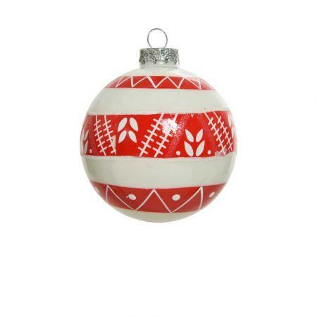Χριστουγεννιάτικη μπάλα γυάλινη Κόκκινη - Λευκή γυαλιστερή 8cm