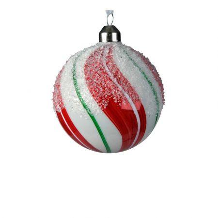 Χριστουγεννιάτικη μπάλα γυάλινη ριγέ Κόκκινη - Λευκή γυαλιστερή 8cm