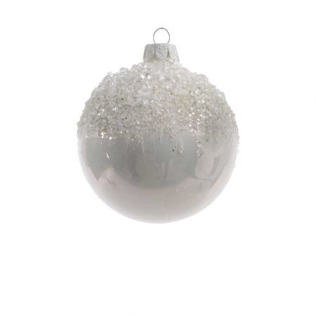 Χριστουγεννιάτικη μπάλα γυάλινη παγωμένη με χάντρες Λευκή 8cm (01)