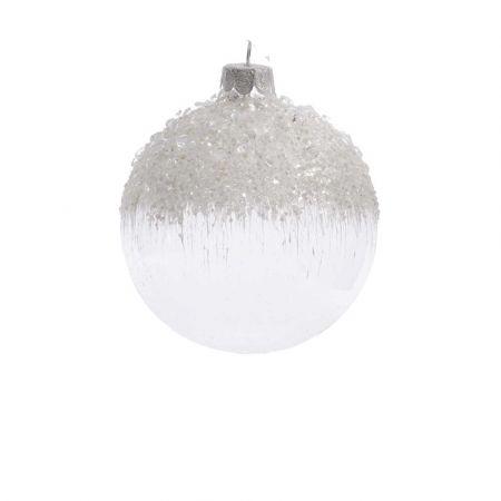 Χριστουγεννιάτικη μπάλα γυάλινη παγωμένη με χάντρες Λευκή - Διάφανη 8cm (02)