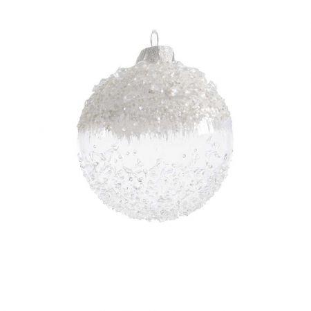 Χριστουγεννιάτικη μπάλα γυάλινη παγωμένη με χάντρες Λευκή - Διάφανη 8cm (03)