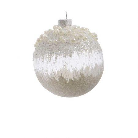 Χριστουγεννιάτικη μπάλα γυάλινη παγωμένη με χάντρες Λευκή 8cm (04)